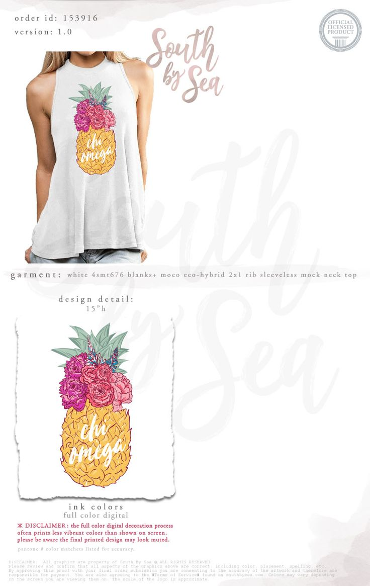 Chi Omega | Pineapple Design | Floral Design | XO | High Neck Tank | Mock Neck Tank | South by Sea | Greek Tee Shirts | Greek Tank Tops | Custom Apparel Design | Custom Greek Apparel | Sorority Tee Shirts | Sorority Tanks | Sorority Shirt Designs