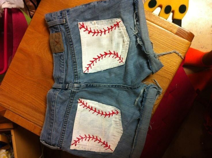 Baseball shorts with paint