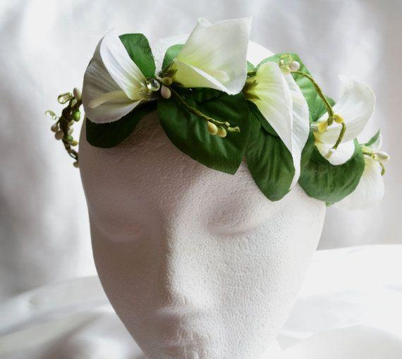 Floral Bridal Crown Calla Lily Flower Crown by lotusflowerdesigns
