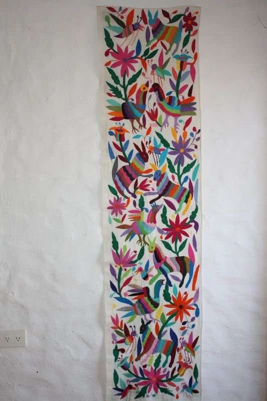 MEXICAN HANDEMBROIDERED RUNNER OTOMI TEXTILE ART WALL DECOR TABLE RUNNER & LINES - Latin - Mexican Folk Art Craft