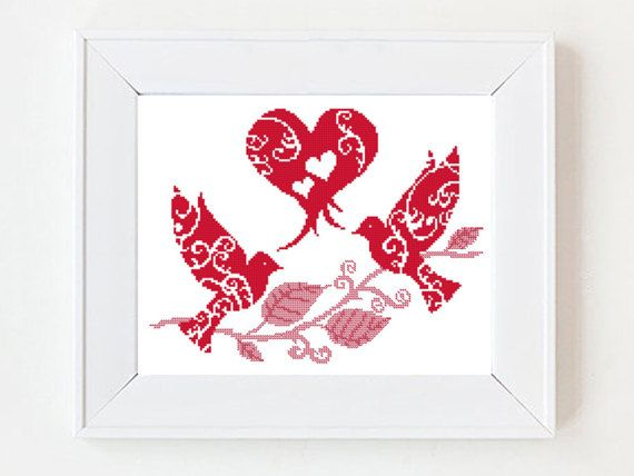 """Love Birds Silhouette, Red Heart Silhouette Pattern, Wedding Cross Stitch Pattern. I'm always """"polishing"""" my patterns after conversion and some times add funny text :) Size: 153 x 117 stitches, 8.5 x 6.5 inches or 21.5 x 16.5 cm Fabric: Aida 18 count (you can use other numbers) Colors: 1 color (Red ) This pattern is beginner\intermediate level. This is a digital pattern, not a finished product. After buying the pattern, you will receive an email (to the account you gave Etsy) and can…"""