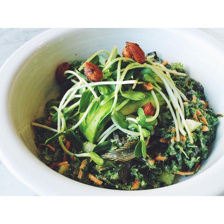 Pure salad made with massaged Asian kale, avocado, sea palm (so tasty), nori, cucumber, carrots, cilantro, basil, green onion, teriyaki almonds, and garlic tahini dressing. SUCH a good salad.