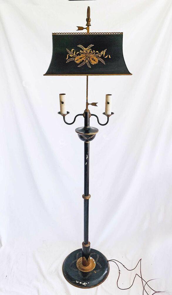 Tole Floor Lamp Antique Candelabra French Regency Black Gold