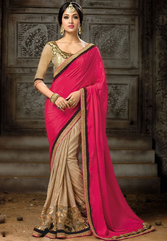 Captivating Khaki Brown and Fuchsia #Saree