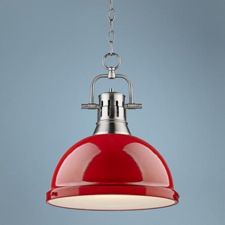 "Duncan Pewter 14"" Wide Contemporary Red Pendant Light - #7K318 | LampsPlus.com"