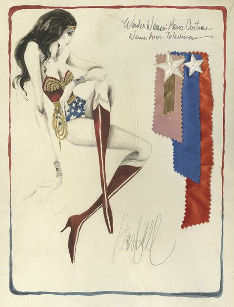 Original costume sketch for Wonder Woman TV series. Illustrator: Donfeld: Wonder Women Costumes, Costumes Design, Tv Series, Costume Design, Originals Costumes, Sketches, Wonder Woman, Costumes Sketch