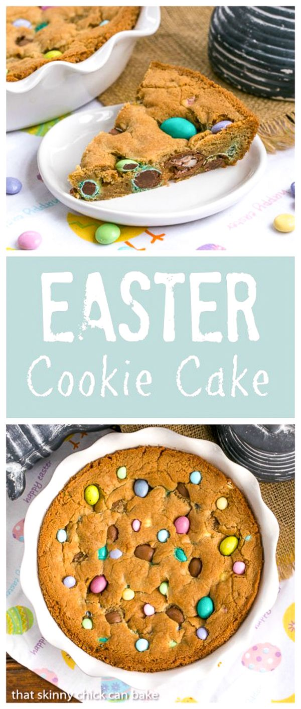 Easter Cookie Cake | A giant, chewy cookie packed full of chocolate chips and Easter candy @lizzydo