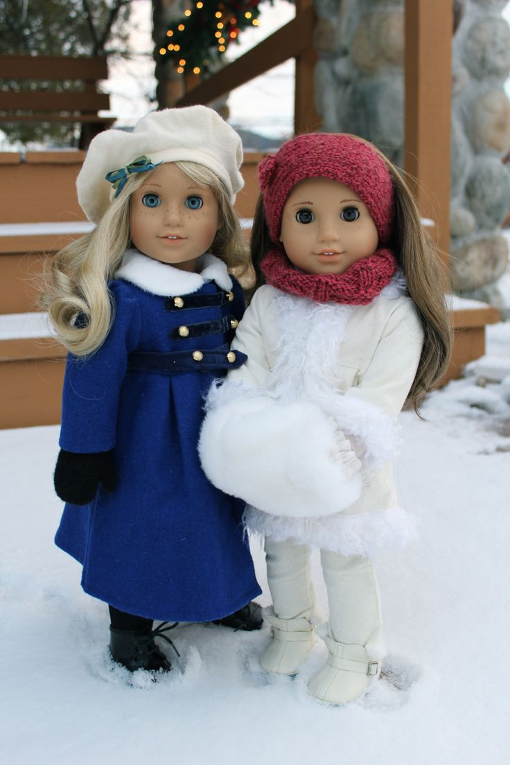Caroline and MAG? Rebecca? My AG Winter American Girl dolls in coats and snow brr