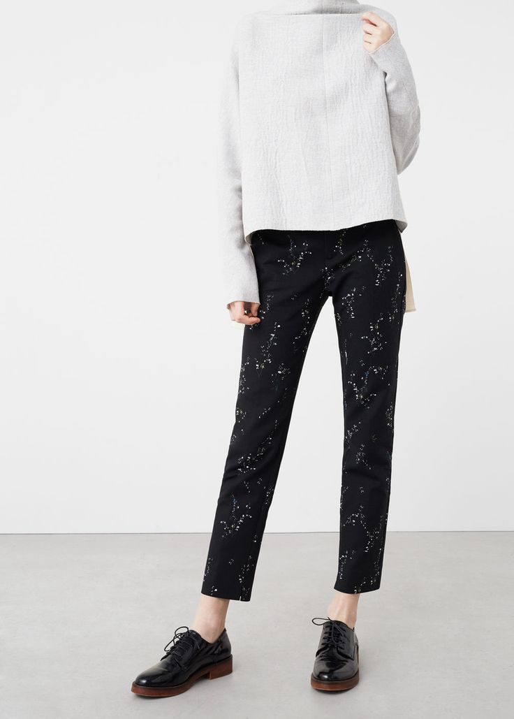 Printed cotton trousers   MANGO
