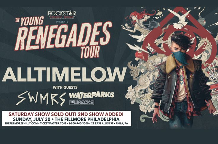 Pop punk band All Time Low's Young Renegades Tour with SWMRS, Waterparks & more at The Fillmore Philadelphia on Sunday July 30!