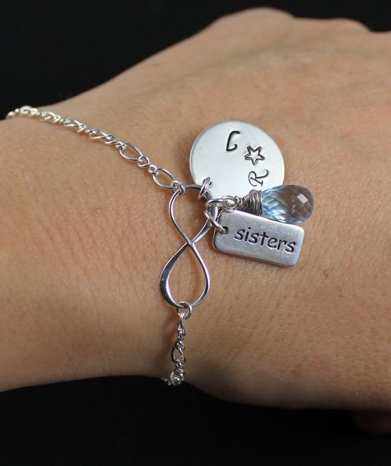 Set Of Two Sisters Bracelets Sister Silver Handstamped