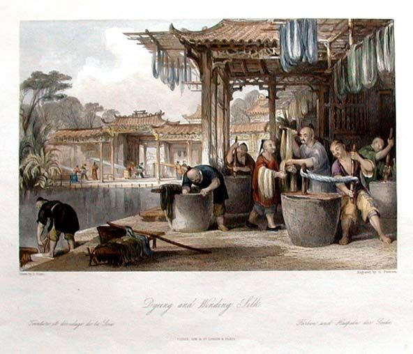Ancient silk production in China by Thomas Allom, 1843 ...