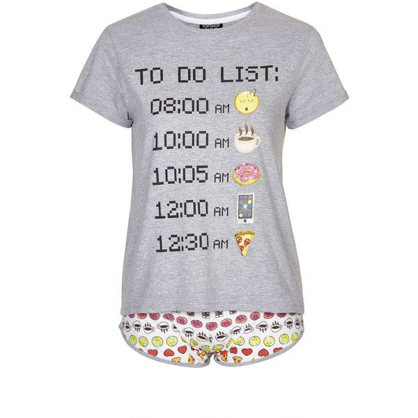 TopShop Emoji Pyjama Set (125 BRL) ❤ liked on Polyvore featuring intimates, sleepwear, pajamas, grey, cotton sleepwear, cotton pjs, cotton pajama set, cotton pajamas and cotton jersey