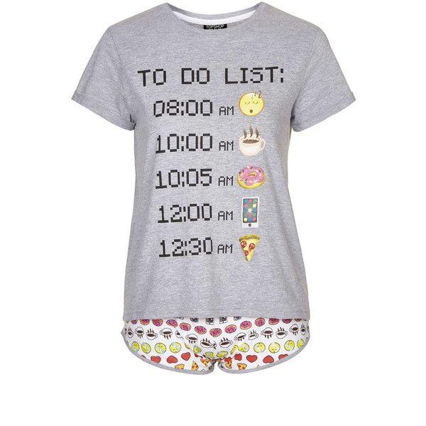 TopShop Emoji Pyjama Set (125 BRL) ❤ liked on Polyvore featuring intimates, sleepwear, pajamas, grey, cotton sleepwear, cotton pjs, cotton pajama set, cotton pajamas and cotton jersey