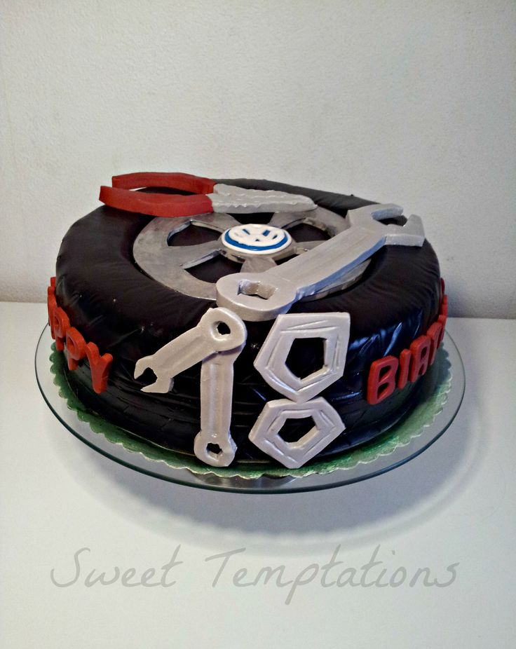 Car mechanic cake - Birthday cake for a young man.  Cake is filled with chocolate cake, cherries and ganache ;)