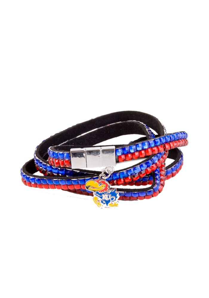 8. Kansas Jayhawks Womens Red and Blue Wrist Wrap Bracelet