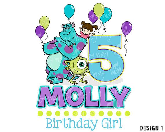 Cute Monsters Inc. Girly Birthday Printable Iron On Transfer or use as Clip Art for Disney Scrapbooking by TheWallabyWay ALSO see Matching Family Designs - Monsters University