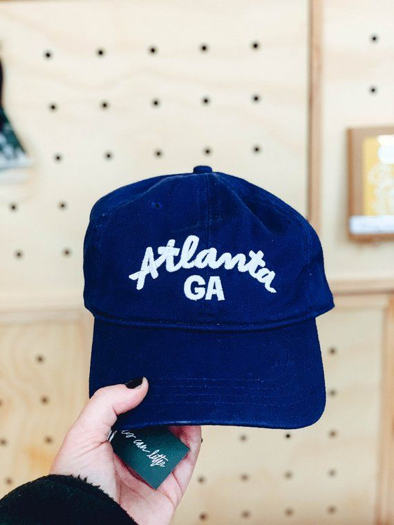 Atlanta Ga Dad Hat Navy Blue Atl Hat Hand Lettered Etsy In 2021 Dad Hats Embroidered Hats Hats