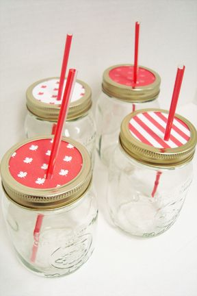 mason jar drink cups - I no sooner pinned it, then came across this idea for using mason jars as drink jars.  Downside is that they are paper lids.