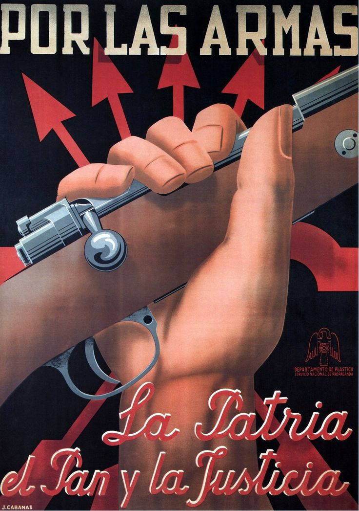 Spanish Civil War Poster:  J. Cabanas.  To Arms, for the Country, Bread and Justice. (Nationalist poster, ca. 1938)