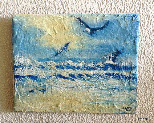 The sea - oil on ceremic tile - 20.5cm x 24.5cm - jimmy deacon