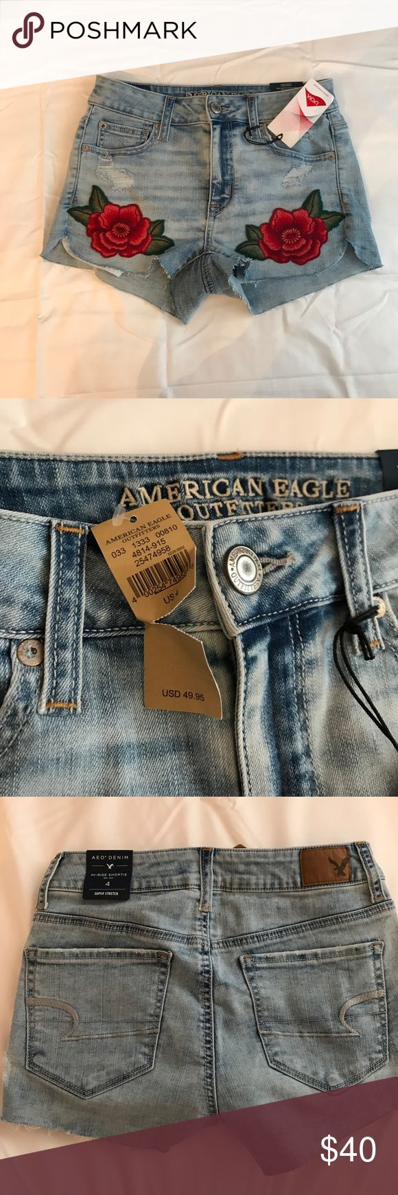 American Eagle Short NWT NWT! Embroidered rose shorts! Hi rise American Eagle Outfitters Pants