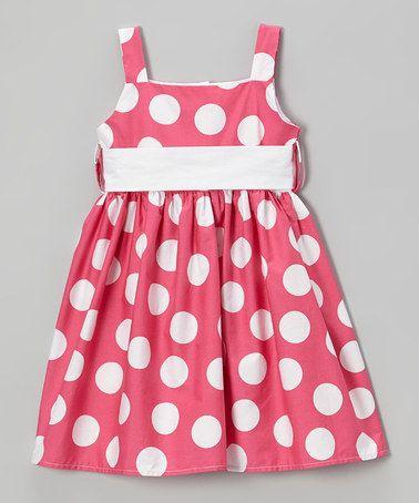 Pink & White Polka Dot Sash Dress - Toddler & Girls #zulily #ad *adorable