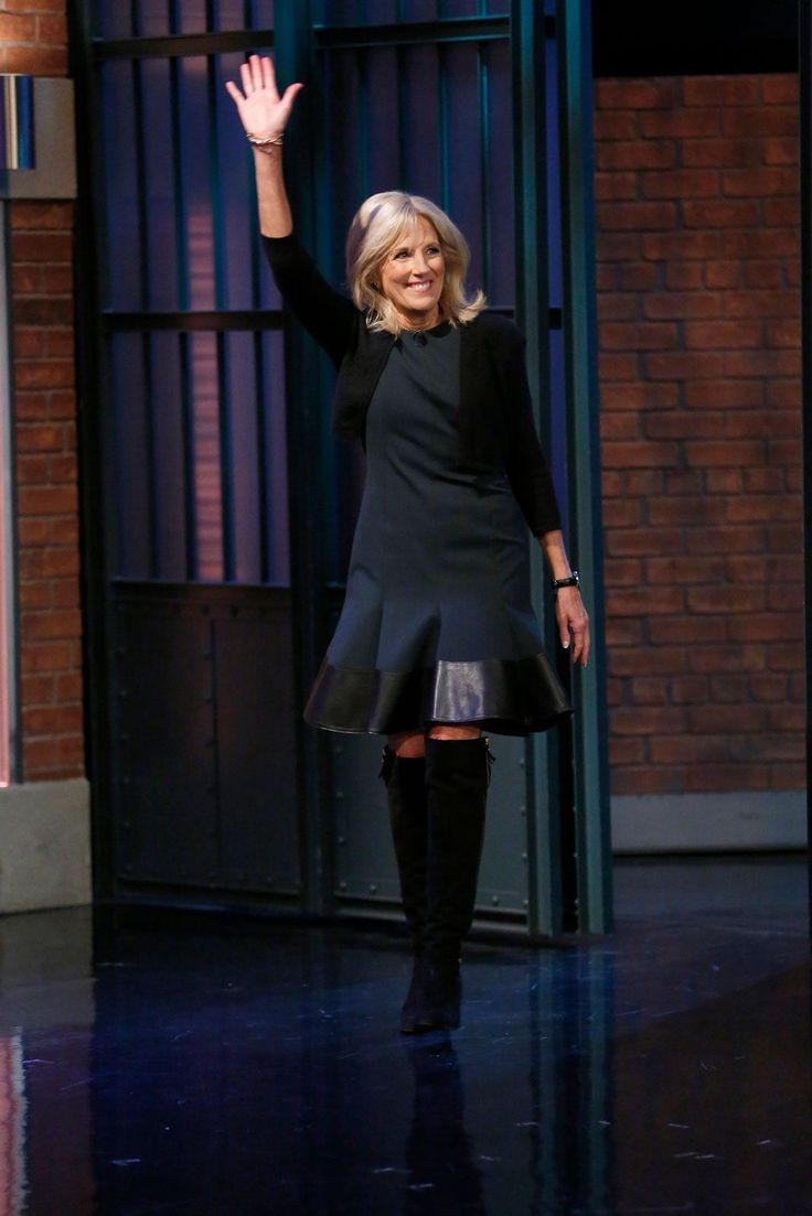 Let's Not Forget About Dr. Jill Biden's Fashion Record #refinery29  http://www.refinery29.com/2016/11/130480/jill-biden-fashion-photos-over-the-years#slide-7  Dr. Biden was an early adopter of the lampshading trend, pairing a dress with over-the-knee boots over a year ago on Late Night with Seth Meyers. ...