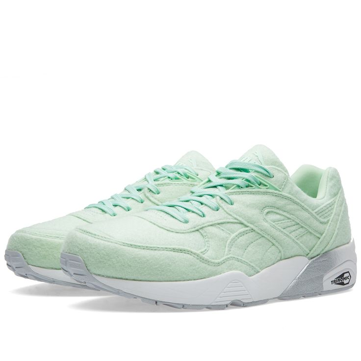 """German brand Puma updates its runner with the launch of the new """"Bright"""" pack of R698. Focusing on its shape, the panelled wool uppers are tonally matching and resting on the brands patented Trinomic midsole.  Synthetic and Wool Uppers Tonal Uppers Trinomic Sole Unit Classic Silhouette Branding to Tongue"""