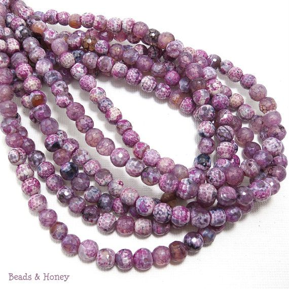 Agate Fired Purple White and Black Round Faceted by BeadsAndHoney, $13.30
