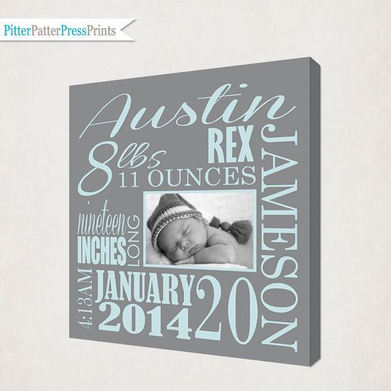Remember all the details with this custom Birth Announcement Canvas. This is a subway style Birth Announcement Canvas Print personalized for