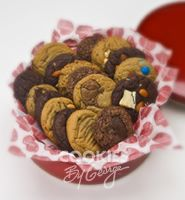 Large George Tin — 24 gourmet cookies gift wrapped in a shiny red tin with cellophane, ribbon and a gift tag.