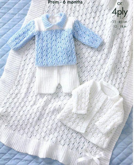 Baby Knitting PATTERN - Jacket, Shawl, Sweater and Shorts - Prem sizes - 12- 18…