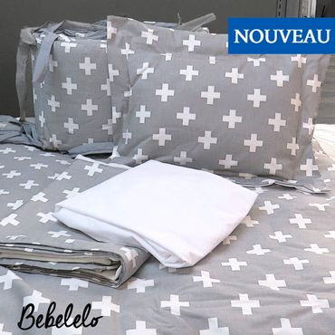 Gray Swiss Cross Fabric 7 Pcs baby bedding Inspired by the Swiss flag and perfect for complimenting the clean modern yet bold lines of the Scandinavian style, these fun Swiss Cross patterns make the perfect accent for your nursery decor. #patterns #babybedding #longueuil #babydecor #gray #gris