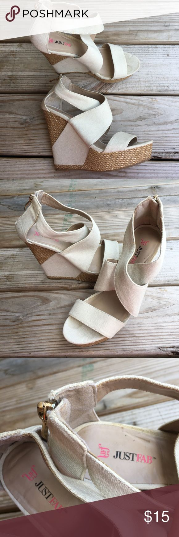 """Just Fab """"Belfast"""" Cream Wedges Just Fab size 8. Style name is Belfast. Super cute for baby showers & graduations! Or any special event. Wedge is about 5 inches tall. Minor staining on Cream part of shoe Just Fab Shoes Wedges"""