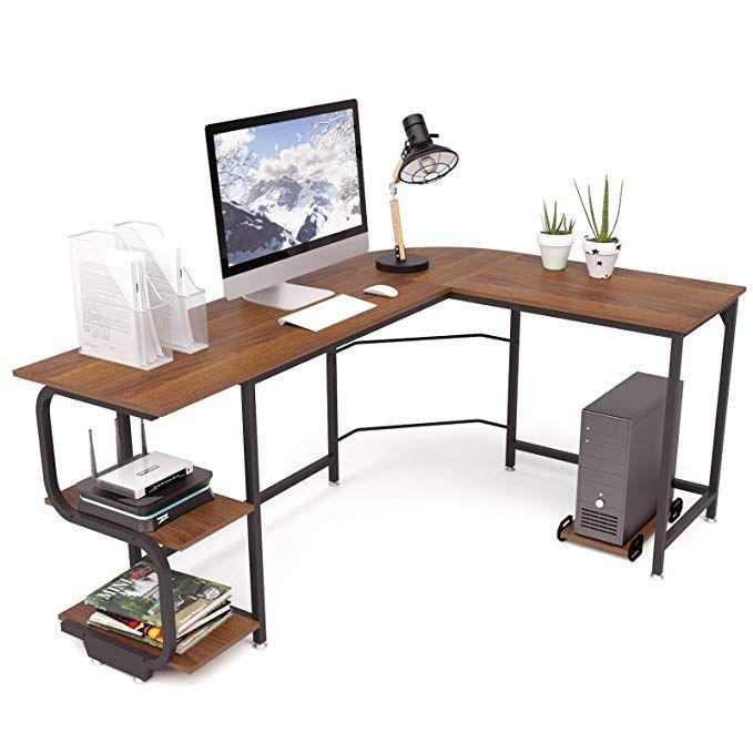 Teraves Reversible L Shaped Desk With Shelves Round Corner Computer Desk Gaming Table Workstation For Home Offi L Shaped Desk Corner Computer Desk Desk Shelves