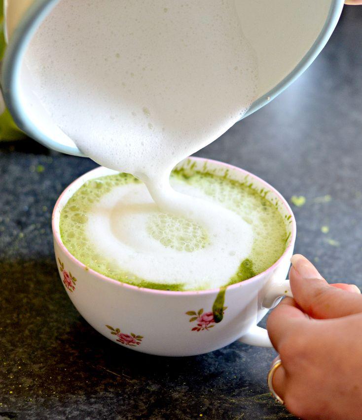 Vanilla and cardamom spiced matcha latte