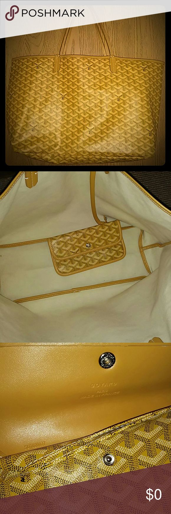 """Replica Yellow Canvas St Louis Style Bag PLEASE READ Great used condition! Goyard inspired. It was a gift so authenticity is unknown. See pics #4-8 for flaws. * small stain in one corner * double threading near one handle * very small crack on one strap * light scuff on ALL 4 corners * crooked leather and stitching inside bottom Apprx 11"""" H x 21"""" W x 6"""" D. Great quality! This listing is incomplete. Under construction. Trades No Name Brand Bags Totes"""