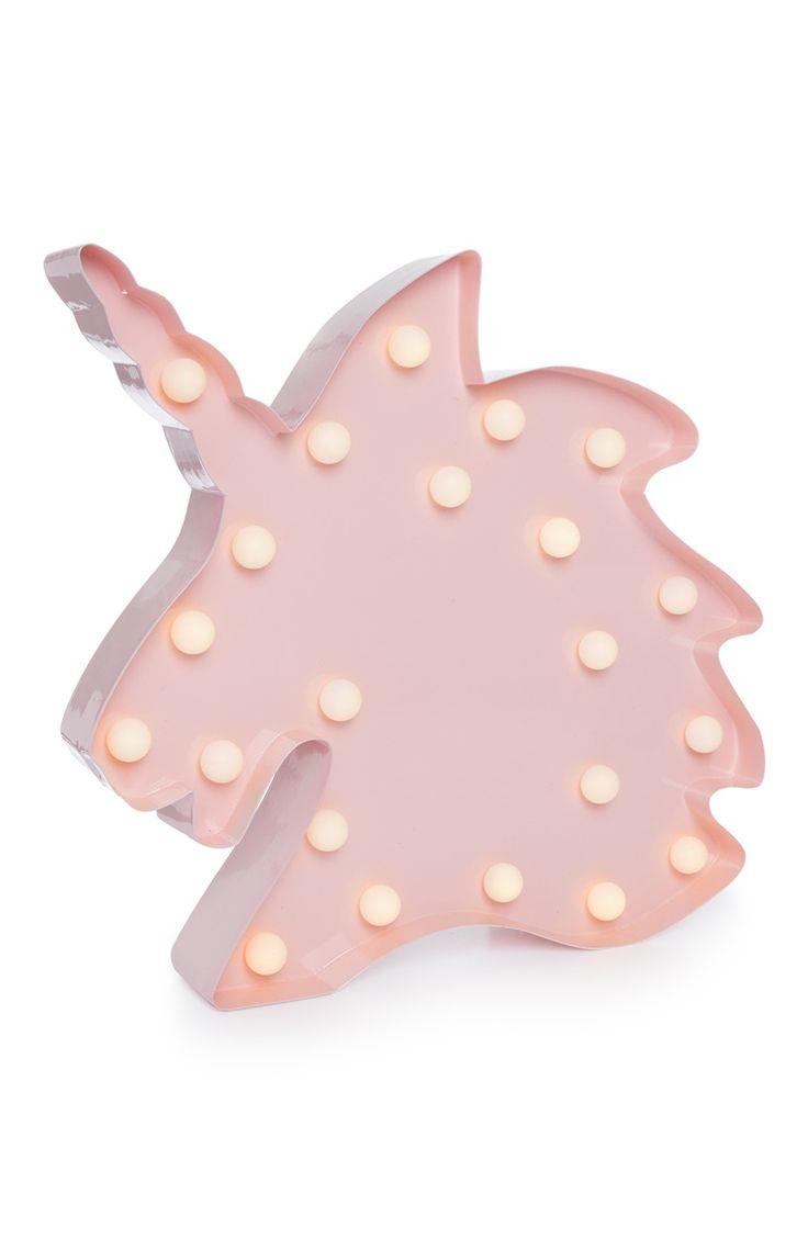 Primark - Luz de metal en forma de unicornio rosa