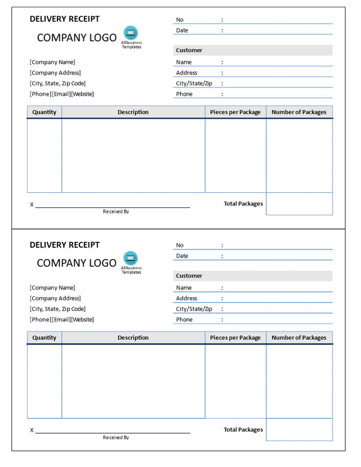 Delivery Receipt Delivery receipt standard template form