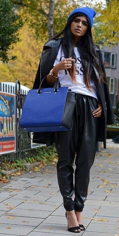 How to Wear Leather Jogger Pants