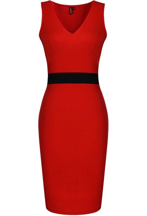 Red V Neck Sleeveless Skinny Body Conscious Dress