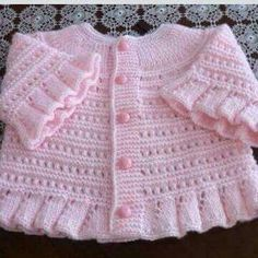 """pink ruffled knit sweater [ """"Yes, I know, this is knitting but it is also great inspiration for a copy-cat crochet version. So cute!"""" ] #<br/> # #Knitting #Designs,<br/> # #Baby #Knitting,<br/> # #Baby #Knits,<br/> # #Knit #Sweaters,<br/> # #Cardigans,<br/> # #Cat #Crochet,<br/> # #Crochet #Baby,<br/> # #Baby #Cardigan,<br/> # #Baby #Items<br/>"""