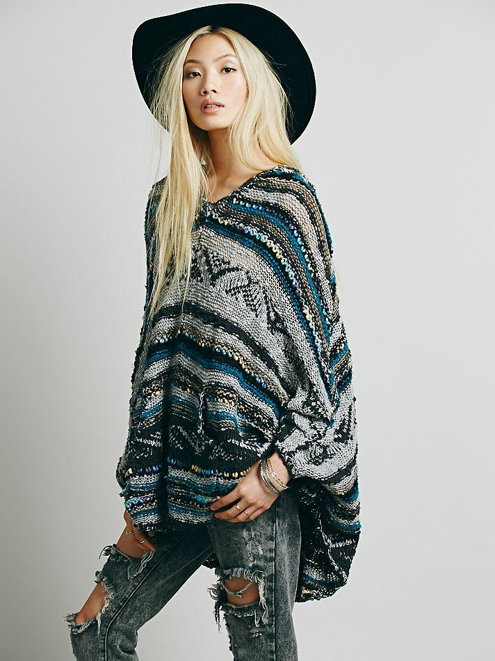 Free People Bubble Tea Poncho at Free People Clothing Boutique