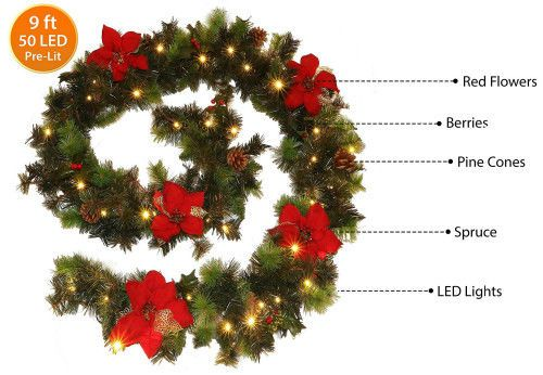 Christmas Garland LED Warm White Light Red Flower 9Ft Mains Operated Decoration #Unbranded