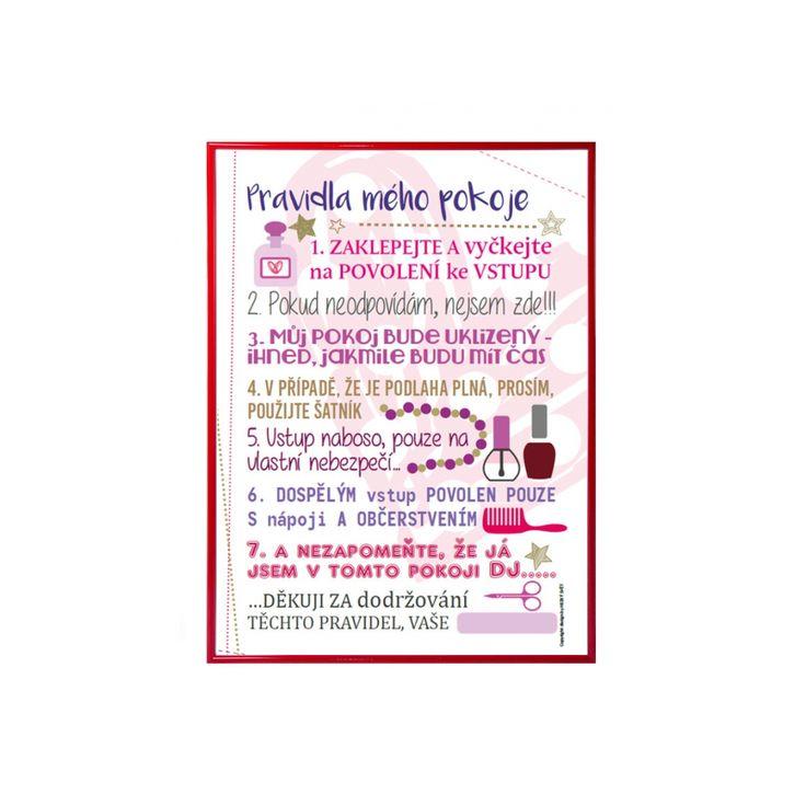 Plakát pro holky - pravidla mého pokoje - HEZKÝ SVĚT