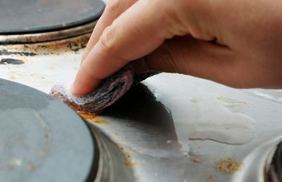 OVEN CLEANER ~ 1 cup or more baking soda, water, a squirt or two of liquid detergent.