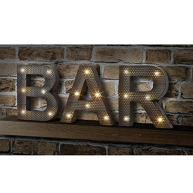 """Display this LED marquee sign featuring the letters """"B"""", """"A"""" and R"""", and let it light the way to good fun. It's the perfect light to accessorize your kitchen, a game room, a den, and, of course, a bar."""