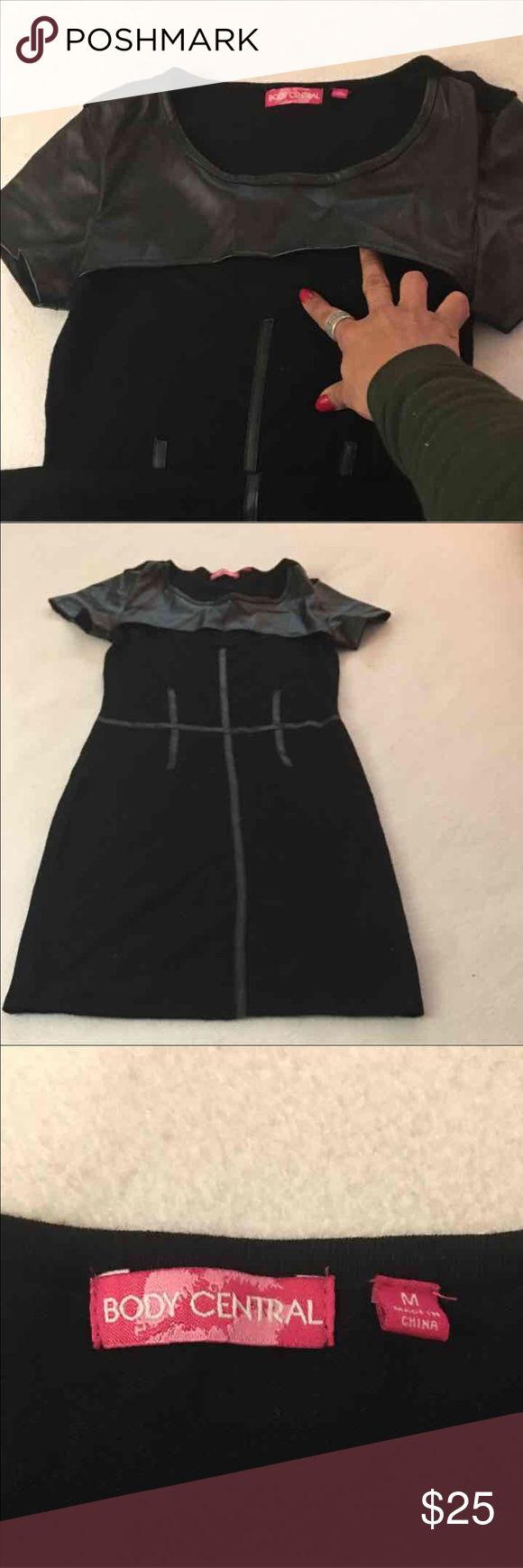 Modern black dress NWOT This dress is a modern NWOT dress from brand Body Central. The brand is known for their style and clothes that fit the body well. Stretchy Body Central Dresses