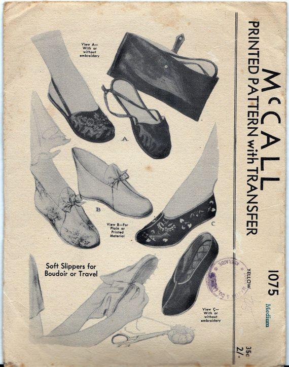 40s Vintage Pattern Boudoir Soft Slippers by allthepreciousthings, $45.00